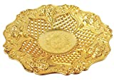 MM Premium Plastic Big Size Golden Round Shape Decorative Plate/Tray Navratri/dussehra/Christmas/Pongal/Sankranti