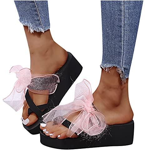 Moda Mujer Grueso Inferior Pendiente Talón Denim Rhinestone Remaches Zapatos Flip Flop 2021 Nuevo Mujer Sandalias (Negro,37)