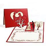 Vegena Tarjeta de boda 3D, tarjetas de felicitación de boda, San Valentín, tarjeta de boda, tarjeta de felicitación pop up con sobre