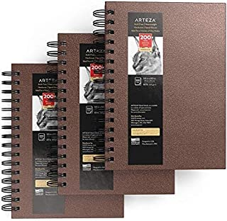 Arteza Sketch Book, 5.5x8.5-inch, 3-Pack, Brown Drawing Pads, 300 Sheets Total, 68 lb 100 GSM, Hardcover Sketchbook, Spira...