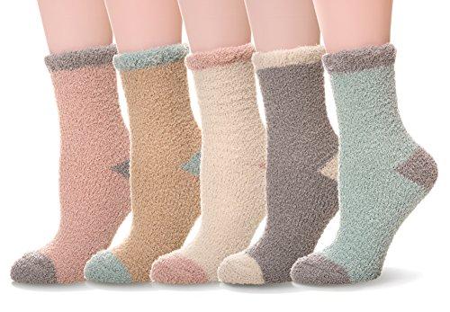 Women's 5 pairs Super Soft Microfiber Fuzzy Winter Warm Slipper Home Socks (Solid Color)