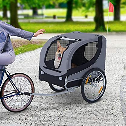 PawHut Steel Dog Bike Trailer Pet Cart Carrier for Bicycle Jogger Kit Water Resistant Travel Grey and Black 4
