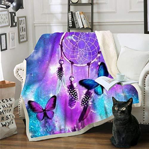 YHHAW Mariposa 3D y atrapasueños patrón de Campanas de Viento Manta de impresión, Manta Suave y cálida, Manta de sofá, Manta de Picnic, Manta de cama-150 * 200CM