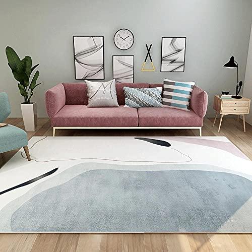 Alfombras para Comedor Alfombra de Dormitorio de Alfombra de Sala de Estar de Graffiti Minimalista Blanco Gris antiacaros alfombras alfombras Salon 200*350cm