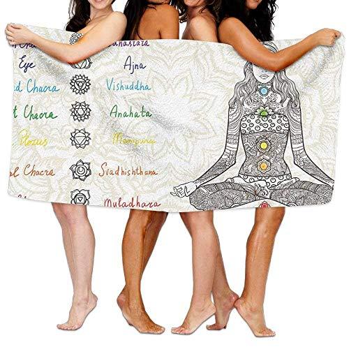 JACARTER PUSAUL Chakra Schets Beeld van Yoga Gepost Meisje in Vrede met Vlekken Oude Ontspan Ritual Zachte Lichtgewicht Strandhanddoek Zwembad Handdoek 31