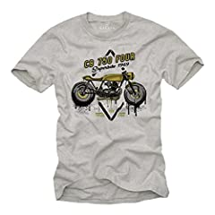 Camisetas Motorcycles Vintage - T-Shirt Moto CB 750 - Ropa Cafe Racer Gris