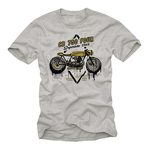 Camisetas Motorcycles Vintage - T-Shirt Moto CB 750 - Ropa Cafe Racer Gris M