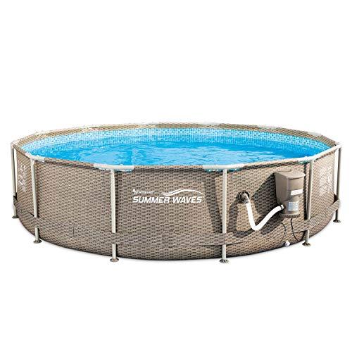 Summer Waves 12' x 33' Above Ground Pool Set w/Pump, Dark Wicker
