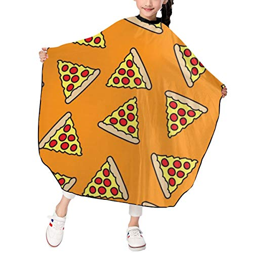 Kids Haircut Apron,Fun Pizza Barber Cape Cover for Hair Cutting,Styling and Shampoo, for Boys and Girls