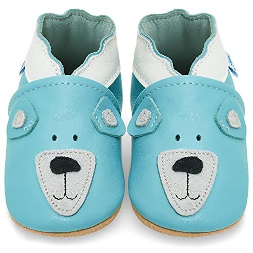 Juicy Bumbles Chausson Enfant - Chaussures Bébé - Chaussons Bébé Cuir Souple - Ourson - 2-3 Ans