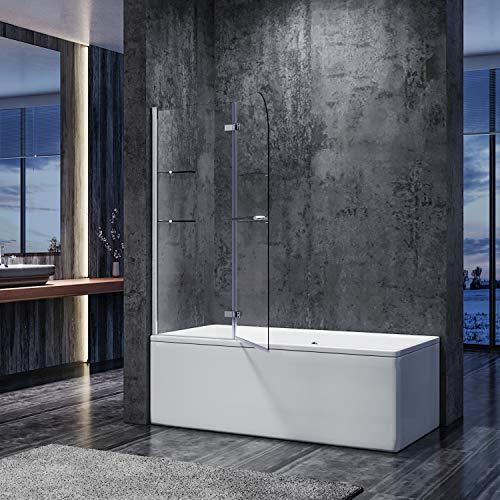 SONNI duschwand für badewanne 2 teilig Spritzschutz badewanne 120x140cm,mit Eckregal 6mm NANO-Klarglas Duschtrennwand badewannenaufsatz