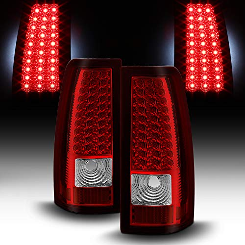 ACANII - For 2003 2004 2005 2006 Silverado Red Clear LED Tail Lights Lamps Left+Right Set