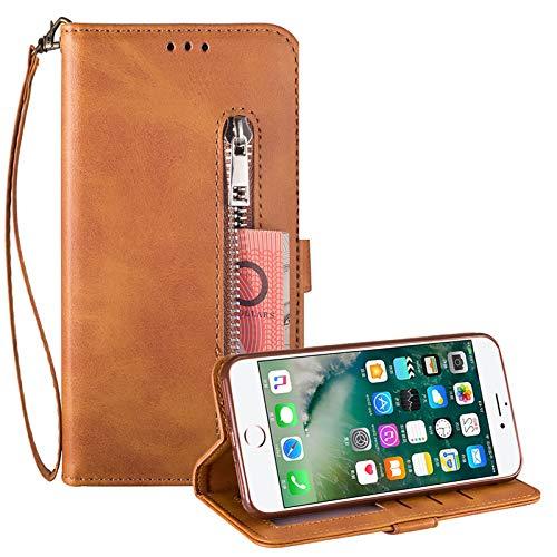 Reißverschluss Brieftasche für iPhone 8 Plus,Gurt Wallet Handyhülle für iPhone 7 Plus,Moiky Klassisch Braun Solide Farbe Klappbar Stand Leder Handytasche