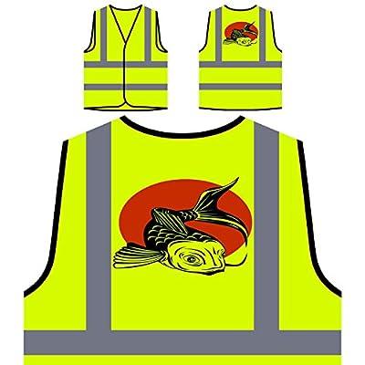 Fish Fisherman Koi Carp Fishing Funny Novelty Personalized Hi Visibility Yellow Safety Jacket Vest Waistcoat rr71v by INNOGLEN