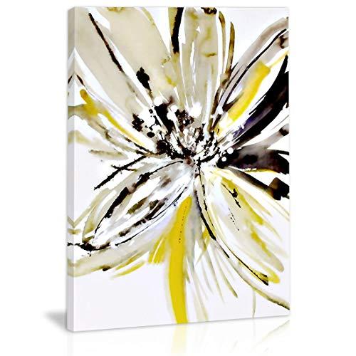 Decor For Wall Leinwandbild, abstrakte Blume, Schwarz/Weiß/Gelb