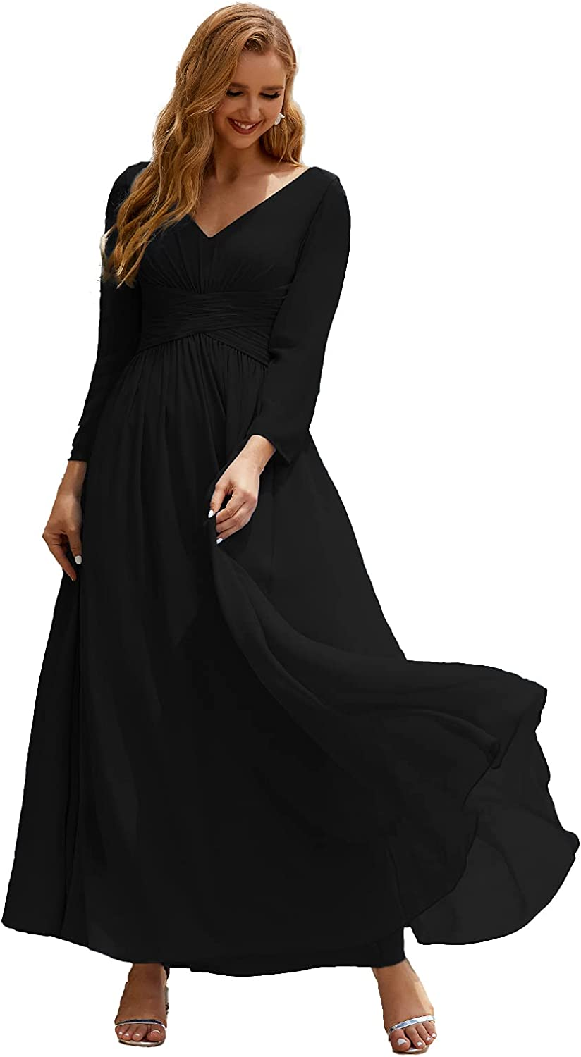 Numbersea V-Neck Chiffon Bridesmaid Dresses Long Sleeve Mother of The Bride Dress for Women Formal Party Wedding Guests