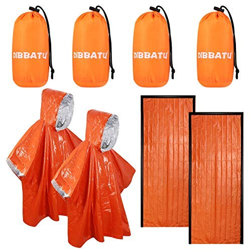 SAINUOD Emergency Sleeping Bag, Survival Rain Poncho, Waterproof Blanket...