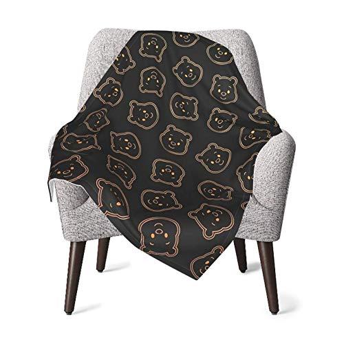 Hdadwy Winnie Pooh, manta negra para bebé, manta unisex para niños, manta súper suave y cálida para niños, para cuna, sillón, sala de estar, viajes, talla única