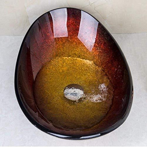 Ovale kunstenaar badkamer gehard glas ontwerper vaas wastafel kom met pop-up afvoer