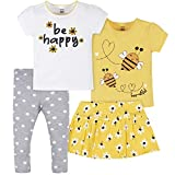 Gerber Baby Girls' Toddler 4-Piece, Onesie, Skirted Panty and Pant Set, Yellow Daisies T Shirts, 12 Months