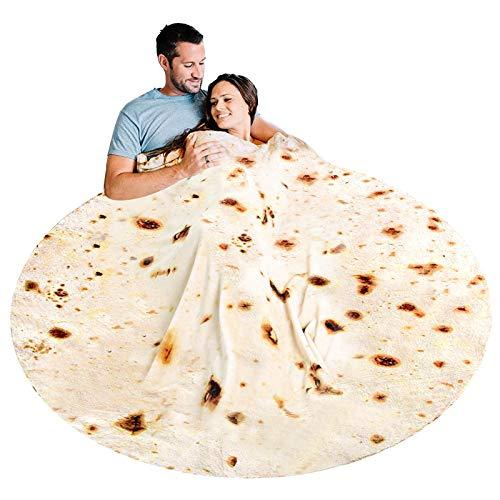 Freesooth Burritos Tortilla Blanket Tortilla Throw Blanket Realistic Food Blanket Soft Plush Round...