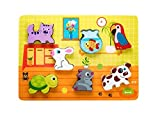 Wooden Chunky Puzzle: Animal Figurines for Toddlers, Educational Toy...