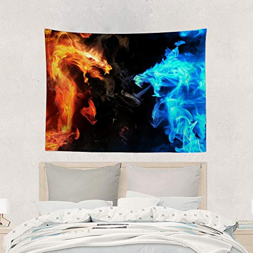 QSMX Tapestry Hippie Abstract Blue Vs Red Fiery Dragon Beach Tapestries Wall Hanging, 40x60 inches Bohemian Tapestries Mural for Home Wall Decor, Window Curtain, Bed Cover, Shawl
