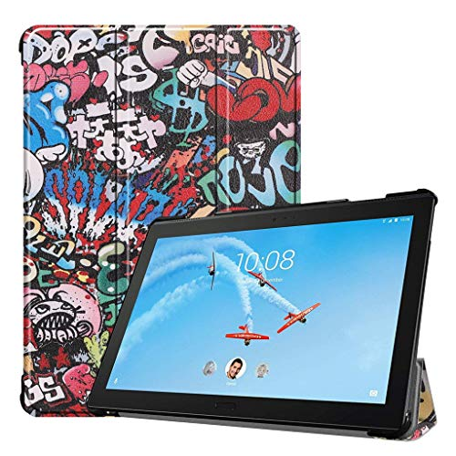 For Lenovo Tab P10 TB X-705 Case Cover | Leather Case Ultra Thin Tri-fold Tablet PC Protective Stand | Painted Protective Stand Cover Slim Shell