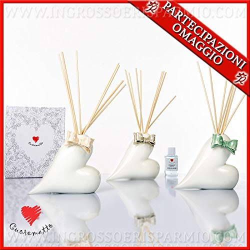 Cuorematto - Profumatore in porcellana bianca a forma di cuore con fiocchi colorati, in due dimensioni, bomboniere matrimonio solidali, con scatola regalo inclusa (Grande-senza confezionamento)