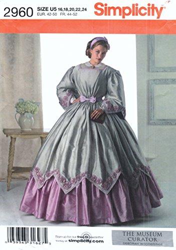 Simplicidad de costura para disfraces 2960para vestido de mediados del siglo XIX, tamaños 16, 18, 20, 22, 24.
