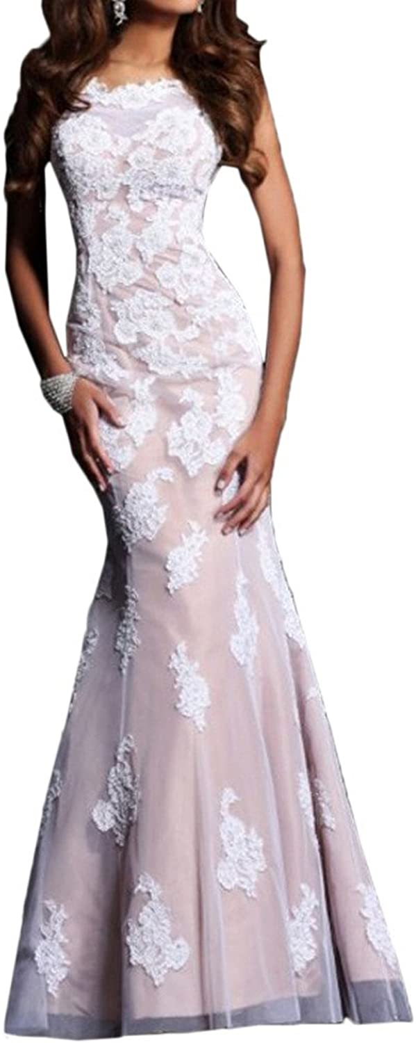 Angel Bride Fitted Mermaid Formal Gowns Appliques Evening Dresses Long Open Back