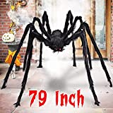 Aiduy 79 Inch Outdoor Halloween Decorations Scary Giant Spider Fake Large Spider Hairy Spider Props for Halloween Yard Decorations Party Decor, Black (Kitchen)