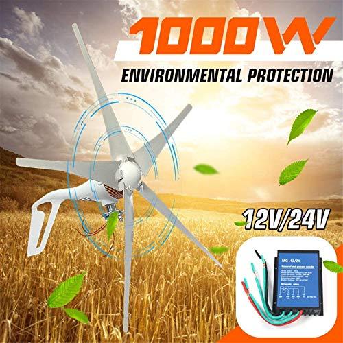 Turbina de Viento, 1000W Eje Horizontal 5 Cuchillas turbinas de Viento, generador de generador doméstico Farola Fuente de alimentación pequeña del Molino de Viento Motor12v / 24V,Kit (Color : 24v)