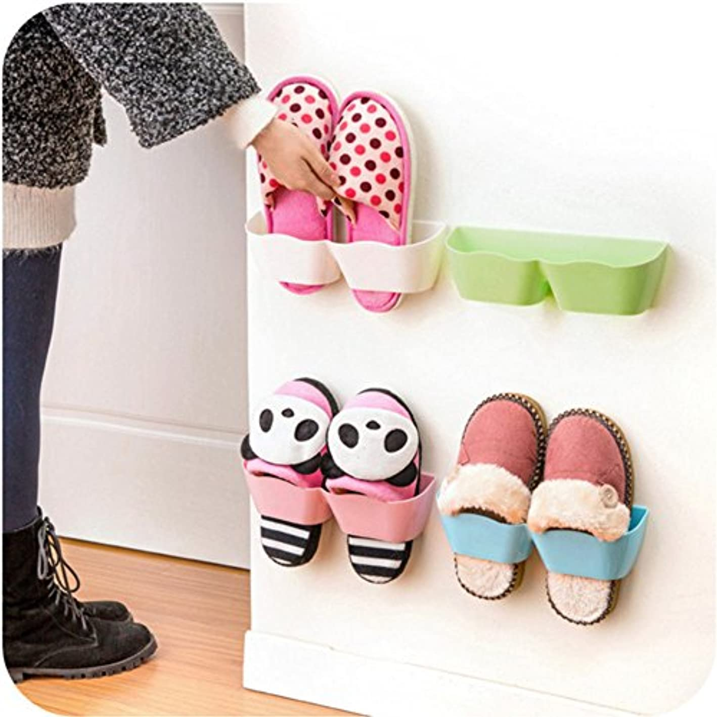 Hever by The Door Shoe Rack Plastic Shoe Organizer Stick on The Wall Set of 5