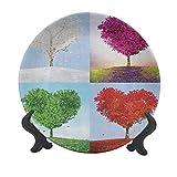 Nature - Plato decorativo de cerámica para colgar (25,4 cm), diseño de árboles en forma de corazón en las cuatro estaciones del año, amor y adoración, decoración de pared para el hogar y la oficina