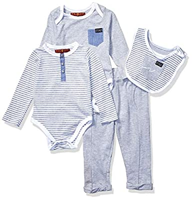 7 For All Mankind Baby Boys 4 Piece Set, Signature 7Fam Heather Grey Stripe, 6-9 Months