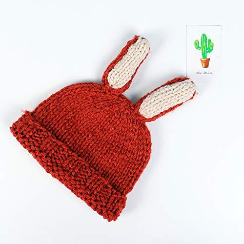 mlpnko Kinder Lange Ohr handgemachte süße Strickmütze Jungen und Mädchen Wollmütze Baby warme Mützen rot 1-3 Jahre alt