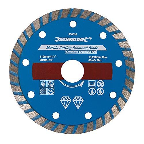 Loops 110 mm x 20 mm Diamantklinge, Steinschneider, Marmor, Schiefer und Boden/Wand, Hartporzellan-Fliesen – Trocken- & Nass-Sägenschneider – kastenförmig, durchgehender Rand