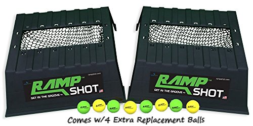 RampShot Plus Portable Outdoor Backyard Toss Game Set for 4 Players with 2 Plastic Ramps, 4...