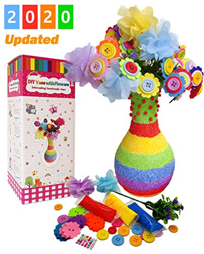 Yileqi Create Your Own Vase and Flowers, Fun DIY Craft Kit for Girls Boys, Kids Arts and Crafts Toy for 4 5 6 7 8 9 10 Years Old Girls, Creativity Project Mothers Day Birthday Gifts (Rainbow)