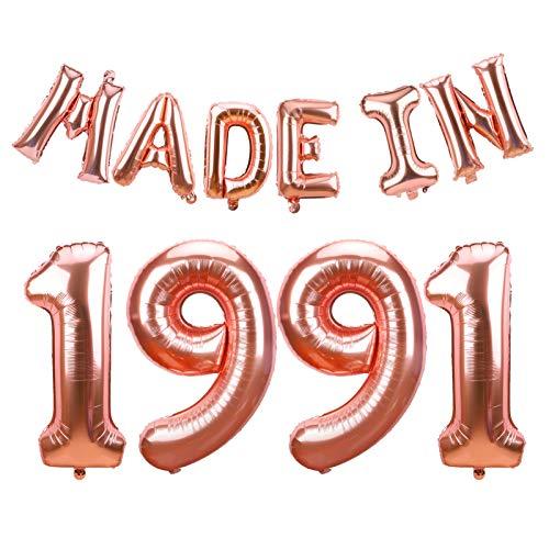 LUXIOCIO MADE IN1991 풍선 30 일 생일 파티를 장식-행복한 30 일 생선 배너 공급에 대한 그녀의-로즈 골드 행복 30 살 생일 파티에 사진 배경막식