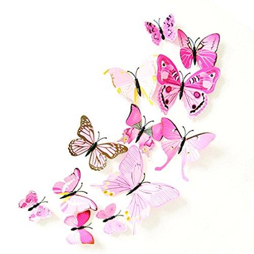 Alcyonée 12 pcs 3d Stickers muraux Papillon Aimant de réfrigérateur fête de mariage DIY Décoration de chambre