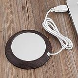 Calentador de taza de grano de madera USB, tapete de taza de calor para bebidas de oficina, té, café, para uso en el escritorio (grano de madera oscuro)