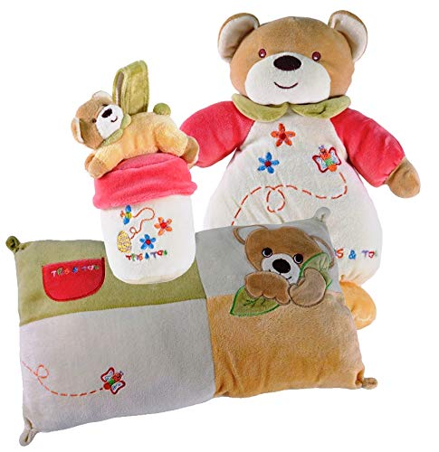 Tris & Ton Pack regalo recién nacido peluche cojín guardería o cuna y portachupete cesta original niño niña (trisyton) (Miel)