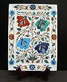 Bandeja decorativa de mármol de 11 x 20 cm Pietra Dura Art Bandeja de servir de Indian Cottage Crafts