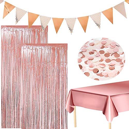 Manteles de oro rosaCortinas de oropel metálico Cortinas de flecos Banner de oro rosa Confeti para cumpleaños Despedida de soltera Baby Shower Decoraciones para banquetes de boda