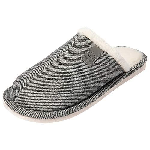 [MERPHINE] ルームシューズ スリッパ ボア ボアスリッパ 暖か 洗える 室内履き 起毛 冬用 防寒 北欧 生活用品 足元冷え対策 おしゃれ シンプル 来客用 かわいい グレー 27.0-27.5cm