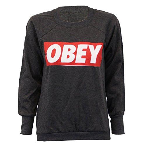 Obey Befolgen Sie Sweatshirts für Damen Pullover Steckdose (M/L 40-42, Holzkohle)
