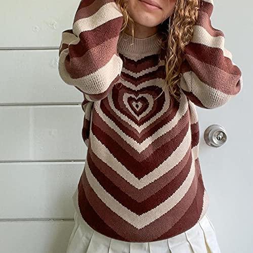YFZCLYZAXET Suéter Hoodie Capucha Jersey De Punto De Estilo Preppy para Mujer, Suéter Azul, Blanco, Estampado Suave,...
