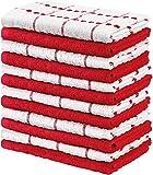 Utopia Towels - 12 Toallas de Cocina (38 x 64 cm) (Rojo y Blanco)